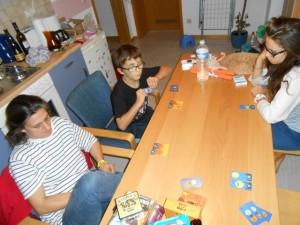 Julie joue avec Maitena, Tristan avec votre serviteur. L'un des équipers démarre une série jour (cartes oranges) et l'autre nuit (cartes bleues). A son tour, on peut soit poser une carte de sa main chez soi, soit chez un autre joueur, soit décider d'empocher sa série si elle comporte au moins 5 cartes. Ensuite, quelques petites subtilités viennent pimenter la chose... Si on joue une carte avec un animal dessus, on rejoue. Si on joue une carte éclipse dans une série, on empêche le joueur en question d'empocher sa série avec l'éclipse. Simple et agréable.