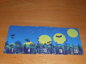 Je m'apprête à empocher cette série de 5 cartes de nuit que j'ai étalées progressivement devant moi. Ce sera 5 points en fin de partie.