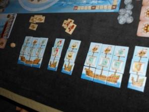 Les bateaux de Julie, en fin de partie, avec un total de 9 mâts...