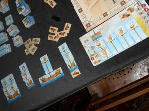Les bateaux de Laurent, avec un total de 4 mâts sur ses bateaux terminés... Mais moult denrées livrées en contre partie.