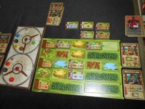 La zone finale de Laurent, avec 5 cartes jouées, une fois la partie terminée...