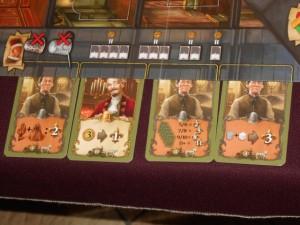 Comme nous n'avions pas regardé les cartes qui allaient être proposées au tour 7, nous ignorions tous qu'elles pouvaient être aussi puissantes !!! On reste assez scotchés quand même et, personnellement, je crains que ces cartes-là me plantent, car je n'aurai pas le temps de m'y lancer si je veux pouvoir acquérir une fontaine...
