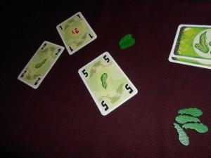 Aïe ! C'est moi qui suis éliminé, cette fois avec la prise de 2 nouveaux cornichons avec une carte 5... La finale oppose donc Tristan à Odile.