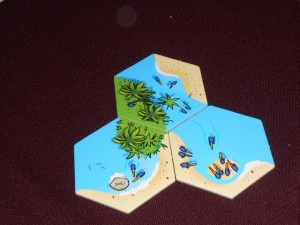 On est dans un jeu de tuiles, hexagonales, dans lequel on va essayer de marquer un maximum de points liés à la taille des paysages qu'on agrandit. Il y a trois types de paysages : la plage, la mer et la jungle. A son tour, à partir de sa main de deux tuiles, on en pose une ou deux pour agrandir un même paysage : celui qu'on marquera (1 point par tuile le composant). Un peu comme dans Einfach Genial de Knizia. Et le jeu est presque aussi abstrait...