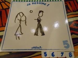Et son dessin me paraît encore surréaliste en faisant le compte-rendu : certes, il a voulu dessiner des mariés, mais Maitena ne devrait pas s'en sortir...