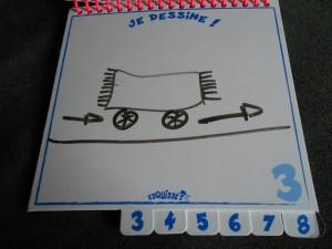 Craignant de ne pas réussir à le faire deviner à Pauline, je me rabats sur un dessin imagé de l'expression : un tapis avec des roues qui avance vers la droite. Osera-t-elle , elle aussi, le tapis roulant ?