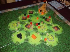 Fin du deuxième tour de jeu et toujours aucune tuile volcan et décompte associé...