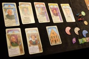 Mes éléments à la fin, avec 7 personnages et 8 maisons, ainsi que 2 majorités pour 8PV... Ca va être serré...