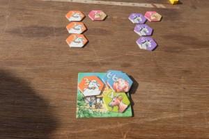 Donc, voici comment j'assemble mes animaux extérieurs : 3 moutons et 1 boeuf pour conserver 1 mouton, donc 3PV ; 3 ânes et 1 boeuf pour conserver 1 âne, donc 5 PV...