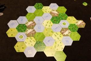 Le plateau, entièrement modulaire, est composé de tuiles de terrain avec 6 paysages possibles : l'eau (où on ne peut pas placer de villages), la forêt, la plaine, la steppe, la savane ou encore la montagne. Les hexagones de lacs sont numérotés, indiquant autour duquel nous sommes en train de nous placer. Tiens, tiens, les origines de Gipsy King sans aucun doute...
