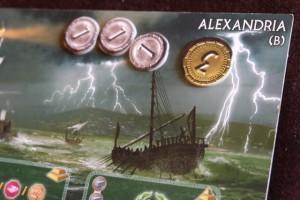 La merveille que je vais tenter de construire aujourd'hui se prénomme Alexandrie. Je n'ai pas souvenir de l'avoir déjà essayée celle-ci... Je choisis la face B. Mais bon, de toutes façons, c'est tellement rare que je construise la merveille moi...