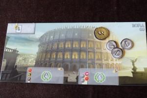 Tiens, le Colisée de Rome est ma merveille du jour ! Je me la joue face A, en me disant qu'elle n'est pas très coûteuse pour les PV qu'elle est susceptible de rapporter. Et puis, franchement, j'adore son pouvoir : ne jamais payer le coût des leaders que je vais jouer !