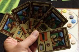 Ma main de 5 cartes que je choisis pour débuter cette partie...