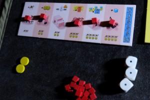 Voici le plateau de Julie une fois la partie terminée : 5 bâtiments sur 6 ! Pas mal...
