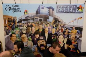 La banderole d'Essen the Game le vendredi vers 12h00. N'oubliez pas de cliquer pour voir en grand les signatures des uns et des autres...