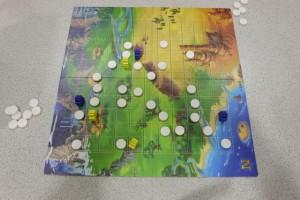 Fin de la partie, avec le terrain entièrement découpé, avec les trois pions jaunes de Tristan d'un côté et mes trois bleus de l'autre. Le score de chacun correspond au nombre de cases enfermées, sans compter les pierres de frontière et celles dans sa zone, tout comme au GO...