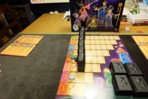 Fin de manche, avec un total de 4 points pour Maitena (violet) et moi (vert), alors que Tristan en est à 2 points...