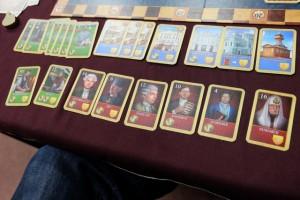 Voici les possessions de Laurent au moment du décompte, avec 6 nobles, ce qui est plutôt pas mal pour une première partie...