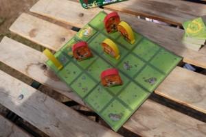 Une fois la mise en place effectuée (voir photo précédente), on peut attaquer la partie, avec une règle élémentaire : à son tour on déplace l'un de ses 4 cavaliers à la manière d'un cavalier aux échecs, puis on brûle une terre (une case) avec une tuile, la rendant à jamais indisponible. Le premier qui ne peut plus se déplacer a perdu. Et c'est tout...