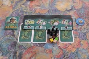 Chaque joueur dispose d'un étui devant lui avec 4 zones (A, B, C et D). A chaque tour, on pioche chacun 3 cartes qu'on doit affecter aux zones A, B et D, sachant qu'elles seront jouées dans cet ordre et avec l'effet prévu : l'effet spécial pour la A, la prise d'un cube ressource pour la B et la progression d'un animal pour la D. La zone C, quant à elle, consiste à placer un explorateur sur le plateau central pour récupérer des tuiles animaux et des PV...