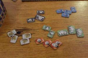 Et voici donc mon butin final, avec surtout 4 trésors bienvenus pour compenser mes 4 petits marqueurs bleus...