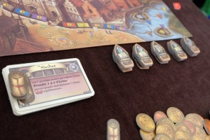 Aujourd'hui, nous incorporons les 3 modules jouables à 2 joueurs : les bateaux, les contrats et les cartes de personnages additionnelles. Pour la première manche, on aura le choix entre 2 bateaux si on réalise l'action canal (bateaux), et on aura le droit de prendre 2 florins supplémentaires si l'on prend l'action Argent (contrats).