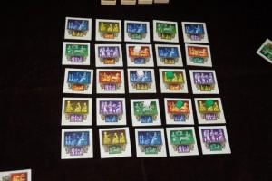 Voici la toute première vue de cette partie, avec 3 cubes placés par joueur... Julie ayant visé le plein centre (quel toupet !), ça va être saignant... Forcément !