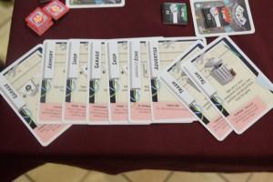 La partie est terminée et voici les 9 cartes de Jean-Luc (celles qui sont inclinées sont les nouvelles du 3ème jour)...