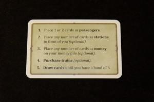 Le résumé du tour de jeu est assez élémentaire : les règles sont vraiment très simples à intégrer. On doit d'abord placer une ou deux cartes de passagers depuis sa main, puis autant de cartes de gares qu'on le souhaite devant soi, avant de rajouter des cartes sur sa pile d'argent. Enfin, on peut investir dans des trains et compléter sa main à 6 cartes.