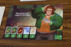 Chaque joueur possède une carte de personnage différente, avec un deck de départ (plus ou moins orienté sur les éléments de terre, feu, eau et air) et un petit pouvoir spécial. Le mien est de pouvoir stocker jusqu'à 6 cartes de sortilèges au lieu de 5.