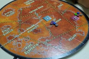 Et voici où atterrissent les astronautes des joueurs... Le jeton carré a été pioché au hasard et indique la valeur de la zone.