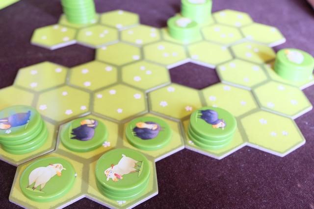 Voilà, ça c'est fait : je viens de coincer une pile de 3 moutons blancs dans cette zone, ce qui va réduire ses expansions possibles. Si je réussis à bien m'étaler avec le reste de mon troupeau, il ne pourra pas occuper autant de cases que moi (but du jeu, quand même...).