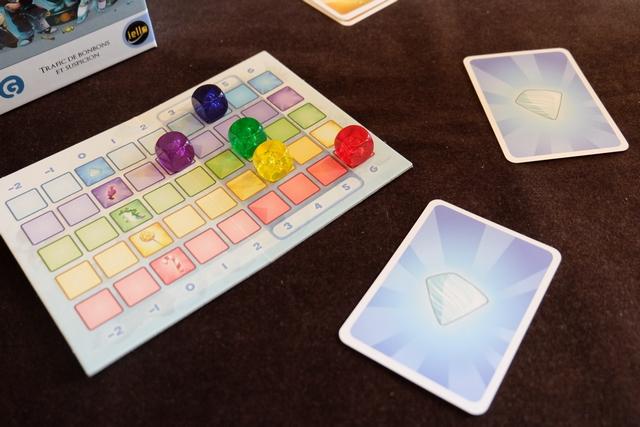 Non, il ne m'accuse de rien. Donc, j'en déduis qu'il doit avoir son cube plutôt bien placé sur les pistes, sinon il m'aurait accusé d'être bleu, ou même peut-être vert. Donc, à moins qu'il soit rouge (mais je n'y crois pas), il a toutes les chances d'être bleu. Je l'accuse donc d'être bleu, car sinon, de toutes façons, avec mon jaune je ne pouvais pas gagner. Bingo ! J'ai raison ! Et il écarquille des yeux de malade, se demandant comment j'ai fait pour l'identifier !!! Tristan, si tu me lis, tu sais tout maintenant de ma réflexion... ;-)