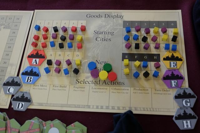 Le plateau des actions et des cubes de production. on ne peut pas ne pas remarquer le délire du hasard de la pioche, avec aucun cube rouge sur les villes noires et sur les villes d'urbanisation !