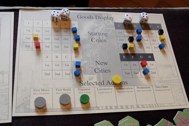 Et le second plateau avec les actions et les cubes restants en production...