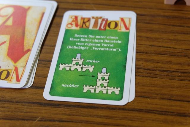 Allez, hop, ne soyons pas avare de cartes Aktion (on ne peut en jouer qu'une par tour) : je vais surélever un de mes chevaliers dans un château où cela paraît utile...
