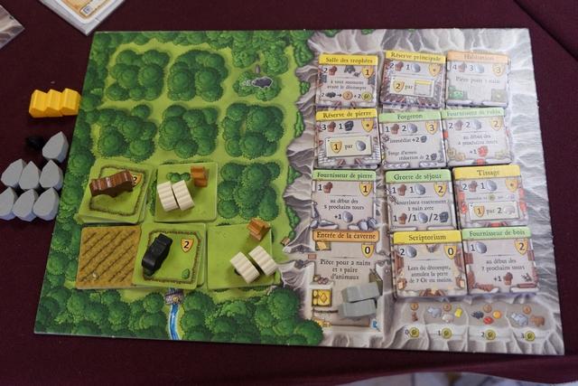 """Tristan a joué une partie complètement décalée par rapport aux autres, ne terminant qu'avec deux nains, mais surtout avec une caverne remplie d'aménagements jaunes, verts et orange (donc plein de PV) et beaucoup de cases inutilisées dehors (mais une de ses tuiles, le """"Scriptorium"""", l'y autorisait)..."""