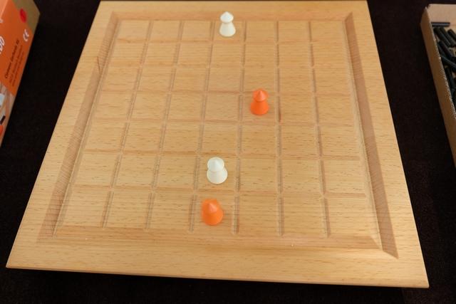 La mise en place a eu lieu et on a chacun joué un premier coup, Tristan avec les blancs, moi-même avec les orange.
