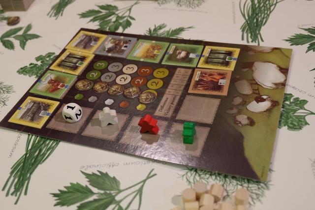 Le plateau central contient l'étalage des tuiles de paysages que l'on va pouvoir construire dans son domaine, à partir d'un astucieux système de temps que j'apprécie toujours autant : on avance jusqu'à la tuile de son choix et on ne rejouera qu'à partir du moment que tous les pions nous auront dépassé. Ci-dessus, par exemple, c'est à moi-même de jouer (en vert) car je suis le dernier sur la piste. Le dé est utilisé à 3 joueurs pour pourrir un peu la situation : quand c'est à lui de jouer, il avance jusqu'à la tuile indiquée par la face obtenue après un lancer (1, 2 ou 3 cases) et... la défausse !