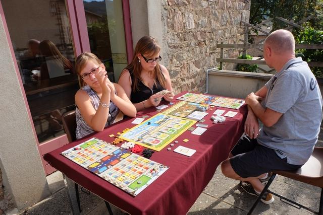 Nous jouons cette partie de découverte à 4 joueurs, Méline (qui me regarde !) avec éléments jaunes, Angélique avec les bleus, Yannick avec les violets et moi-même avec les gris. Dans ce jeu, on va tenter de faire prospérer notre hôtel, le Grand Austria, mieux que celui de nos adversaires...