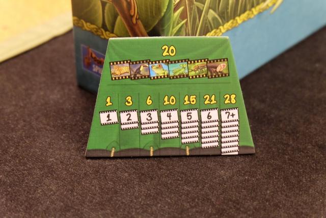 Au dos de la tuile de résumé, on trouve les PV obtenus en amassant des animaux. Exemple : si j'ai ramassé 5 iguanes, je marquerai 15 PV en fin de partie. Et il y a un bonus de 20 PV si je collecte un animal de chaque espèce...
