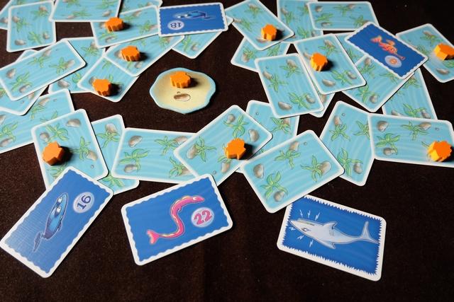 La partie a débuté avec un requin qui va manger mon anguille n°22, alors que Leila va s'emparer de la raie n°18 et de la n°16, plus le coquillage du rocher. On va remettre le poisson n°8 face cachée...