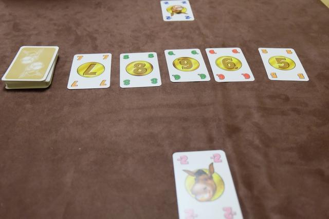 Les cartes, de valeur 3 à 8 en 6 couleurs, ainsi que 2 ânes par couleur de valeur -2 (à deux joueurs), sont mélangées et empilées. Un étalage de 5 cartes est formé, un âne de est placé aléatoirement devant soi (sa réserve) et la partie peut débuter. A son tour, soit on ajoute la carte la plus faible de l'étalage à sa réserve, soit on échange une de ses cartes avec une plus faible de l'étalage, soit on échange un âne contre la carte de son choix de l'étalage. Et on continue ainsi jusqu'à ce que l'étalage soit vide, moment où l'on remet alors 5 cartes sur la table.