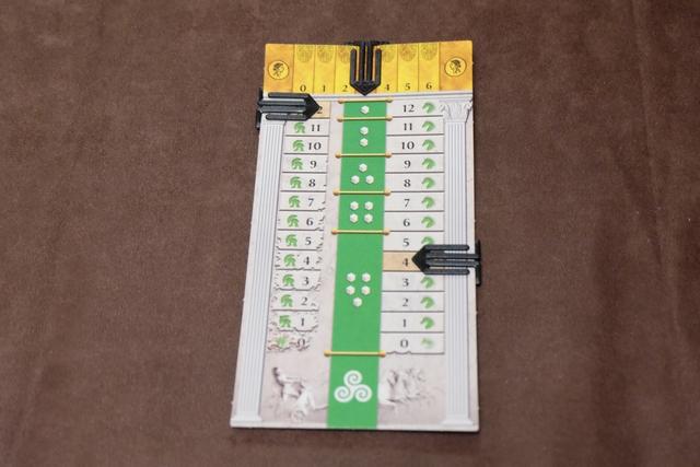 Chacun dispose d'un carton sur lequel il va conserver trace de l'état de son char (colonne de gauche, initialement à 12), gérer sa vitesse (colonne de droite, avec une vitesse initiale de 4) et se faire aider des dieux (ligne du haut, avec une valeur de 3 au départ).