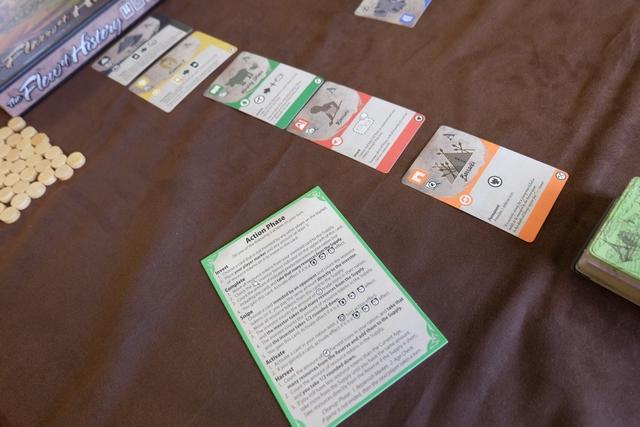 Chaque joueur dispose d'un petit résumé des actions possibles à son tour, sachant qu'on n'en réalise qu'une seule par tour. Au centre se trouve l'étalage de cartes parmi lesquelles on va puiser pour étendre son domaine qui va se construire au fur et à mesure de la partie...