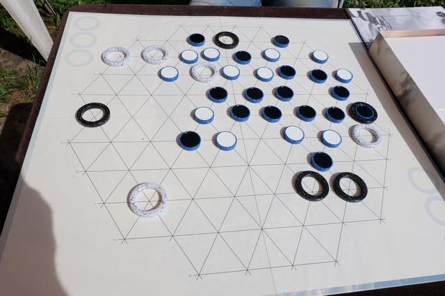 Allez, premier alignement de 5 pions noirs pour moi, je vais donc retirer la fameuse ligne ainsi qu'un anneau de mon choix, m'affaiblissant au passage dans ma quête d'atteindre les trois alignements de 5 requis pour gagner la partie.