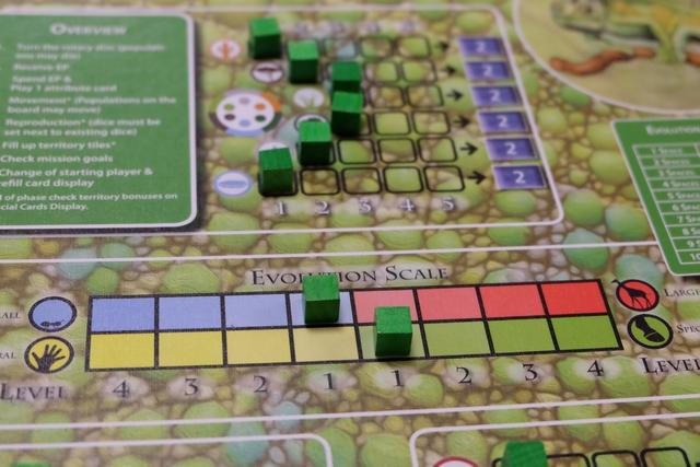 Je fais le choix, après avoir analysé les cartes de l'étalage de développement et le choix de Jean-Luc qui a joué juste avant, de placer un marqueur sur le 1 côté bleu en taille et sur le 1 côté vert en comportement.