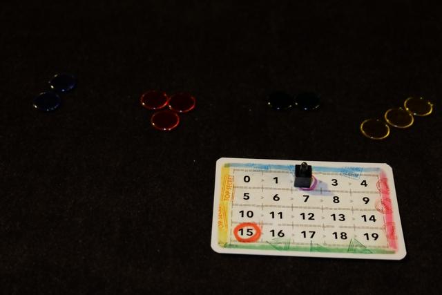 Chaque joueur dispose devant lui d'une carte de score (avec un marqueur sur le 2 pour démarrer) et de jetons indiquant la couleur des cartes qu'on a eues dans sa main de départ. Me concernant, j'ai donc 2 cartes bleues, 3 rouges, 3 vertes et 3 jaunes. Attention, pour imaginer la valeur de ces cartes, il faut regarder le plateau central car les couleurs sont réparties sur les valeurs...