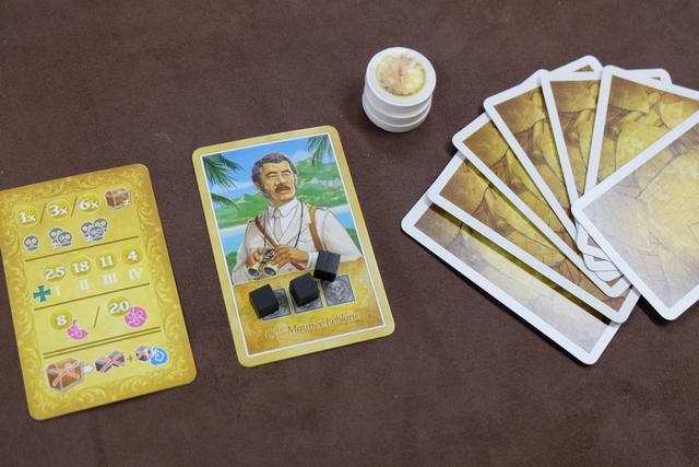 Chaque joueur reçoit un personnage avec 3 cubes de malédiction dessus (il ne faut pas en avoir 13 en fin de partie sous peine d'être éliminé), trois disques de boussoles (pour repérer les territoires où on a joué des cartes) et une main de 7 cartes (de 4 couleurs possibles, de valeurs de 1 à 10 et avec quelques symboles spéciaux).