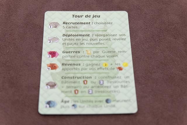 Un tour de jeu se divise e, 6 phases successives, réputées pouvoir se jouer simultanément afin d'accélérer le jeu. En phase 1, on drafte 5 cartes avec son voisin de gauche (ou de droite). En phase 2, on réorganise sa zone en ayant un maximum de 4 cartes sur la table (2 devant et 2 derrière) face cachée, à condition de pouvoir payer les sous requis. En phase 3, chacun fait la guerre avec ses deux voisins (comparaison du total de la force de ses cartes placées à l'avant) pour espérer marquer 3 PV par guerre. En phase 4, on empoche des revenus (2 sous de base + divers moyens d'en acquérir davantage). En phase 5, on peut construire ou améliorer un seul bâtiment (en payant le coût requis en ressources et sous). Enfin, en phase 6, on fait mourir nos cartes qui ont un marqueur d'âge et vieillir d'un âge les autres.
